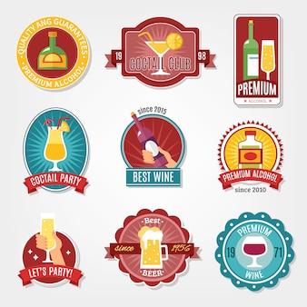 Ensemble d'étiquettes d'alcool
