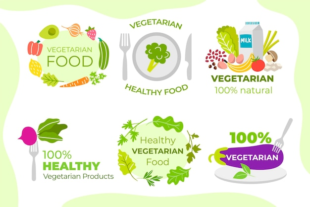 Ensemble d'étiquettes d'aliments végétariens dessinés à la main