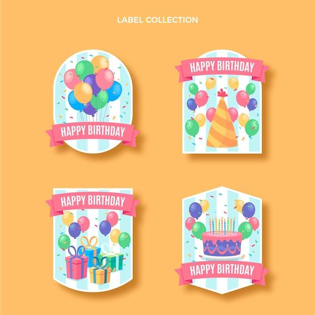 Ensemble d'étiquettes d'anniversaire plat minimal