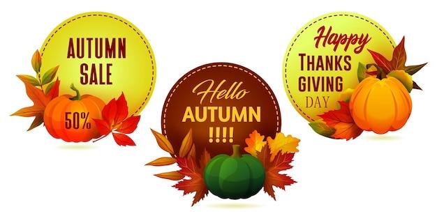 Ensemble d'étiquettes ou d'autocollants décoratifs d'automne ou d'automne