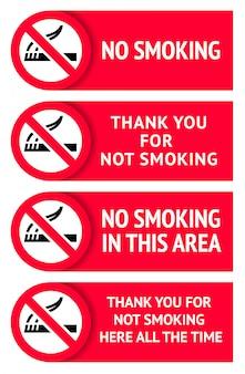 Ensemble d'étiquettes autocollants non fumeurs