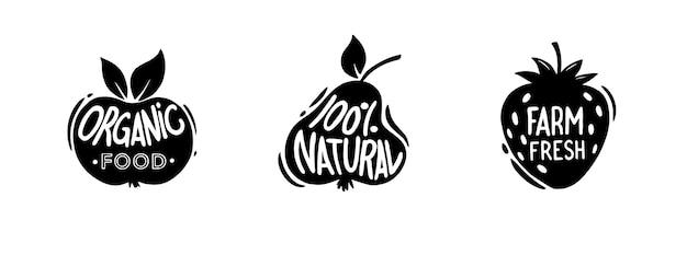 Ensemble d'étiquettes et de badges biologiques et écologiques.