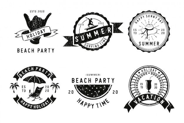 Ensemble d'étiquettes de badges d'été, emblèmes et logo