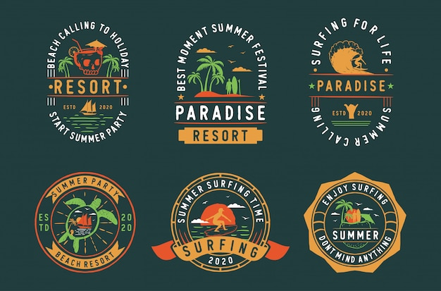 Ensemble d'étiquettes de badges d'été vintage, emblèmes et logo