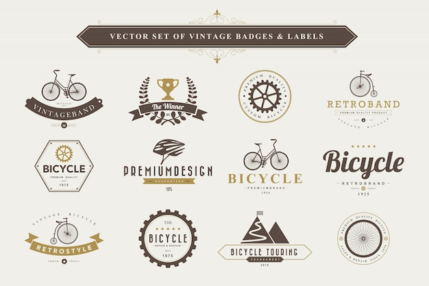 Ensemble d'étiquettes et de badges vintage.