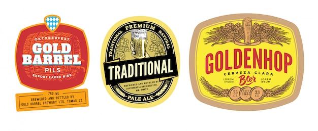 Ensemble d'étiquettes de bière colorées