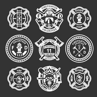 Ensemble d'étiquettes blanches de pompier