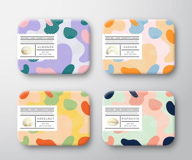 Ensemble d & # 39; étiquettes de boîte de soins de bain