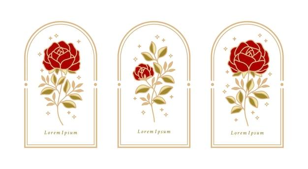 Ensemble d'étiquettes botaniques vintage rose élément fleur et feuilles