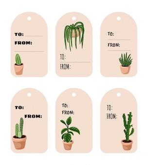 Ensemble d'étiquettes de cadeau de plantes succulentes en pot hygge. collection d'étiquettes confortable de style scandinave lagom