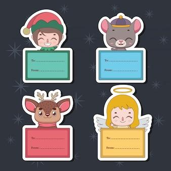 Ensemble d'étiquettes de cadeaux de noël avec divers personnages