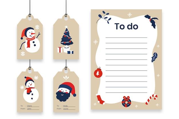 Ensemble d'étiquettes de cadeaux de noël et liste de todo