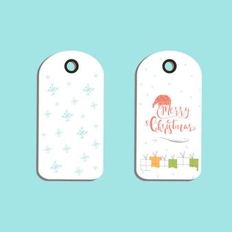 Ensemble d'étiquettes-cadeaux de noël mignonnes, cartes avec lettrage joyeux noël, animaux, préréglages, arbre et flocons de neige. modèle modifiable facile. illustration parfaite pour carte postale, affiche, badge, bannière.