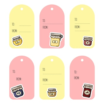Ensemble d'étiquettes de cadeaux de pots de confiture. collection d'étiquettes de style plat coloré