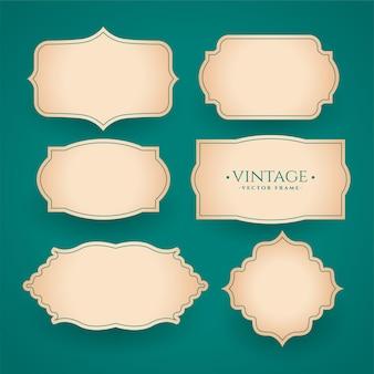 Ensemble d'étiquettes de cadre vintage classique de six