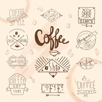 Ensemble d'étiquettes de café rétro vintage