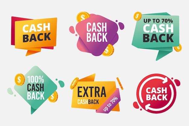 Ensemble d'étiquettes de cashback différentes