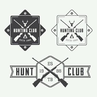 Ensemble d'étiquettes de chasse vintage, logo, badge et éléments de conception. illustration vectorielle