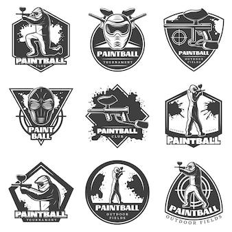 Ensemble d'étiquettes de club de paintball vintage monochrome