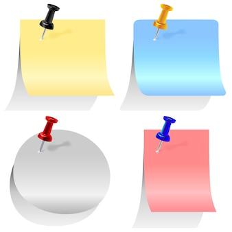 Ensemble d'étiquettes colorées épinglées avec des épingles