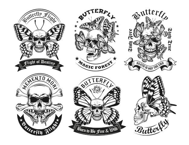 Ensemble d'étiquettes de crânes et papillons vintage noir et blanc