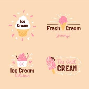 Ensemble d'étiquettes de crème glacée dessinés à la main
