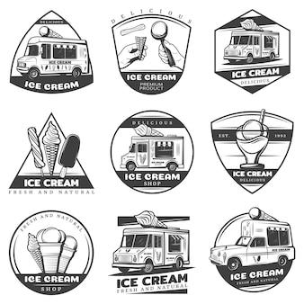 Ensemble d'étiquettes de crème glacée vintage monochrome