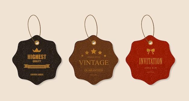 Ensemble d'étiquettes en cuir et tag dans le style vintage