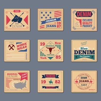 Ensemble d'étiquettes en denim vintage