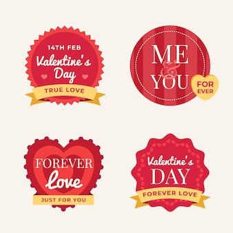 Ensemble d'étiquettes design plat saint valentin