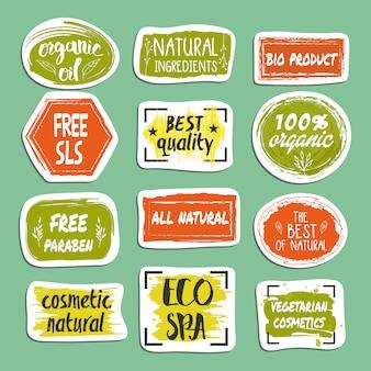 Ensemble d'étiquettes dessinées à la main cosmétiques naturels