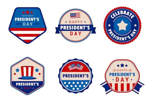 Ensemble d'étiquettes du jour du président