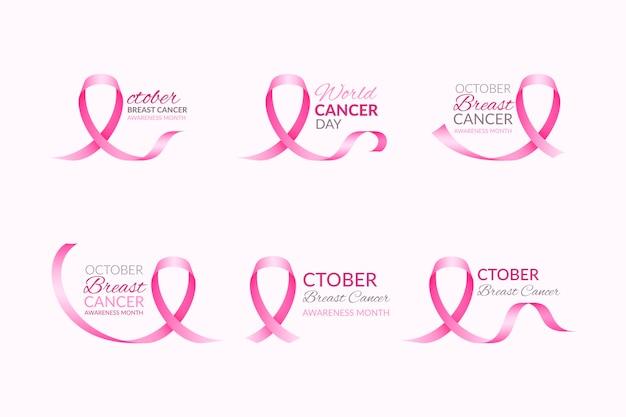 Ensemble d'étiquettes du mois de sensibilisation au cancer du sein
