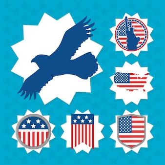 Ensemble d'étiquettes eagle et usa