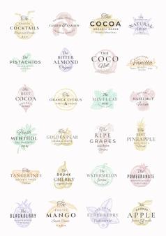 Ensemble d'étiquettes élégantes de fruits, baies, noix, épices de qualité supérieure.