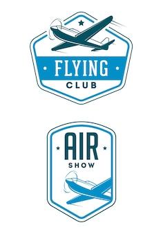 Ensemble d'étiquettes et d'éléments de spectacle d'avion. aéroclub. salon de l'aéronautique.