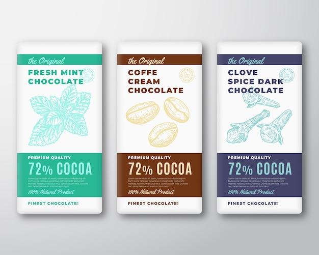 L'ensemble d'étiquettes d'emballage abstrait chocolat le plus fin original. typographie moderne et menthe et grains de café dessinés à la main avec des dispositions de fond de silhouette de croquis d'épices de girofle.