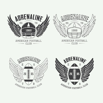 Ensemble d'étiquettes, emblèmes et logo vintage de rugby et de football américain
