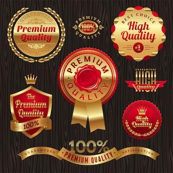 Ensemble d'étiquettes et emblèmes de qualité premium or.
