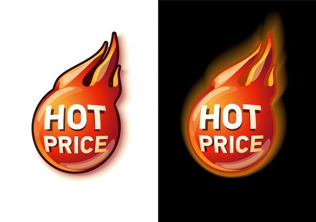 Ensemble d'étiquettes d'escompte prix chaud sur noir et blanc dessiné sur la bannière de feu. concept pour magasin