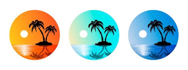 Ensemble d'étiquettes d'été avec île