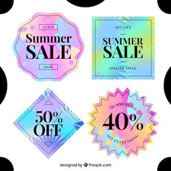 Ensemble d'étiquettes d'été de vente avec des éléments de vacances