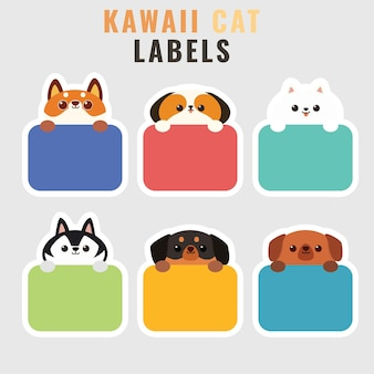 Ensemble d'étiquettes ou d'étiquettes d'illustration de chien mignon style cartoon