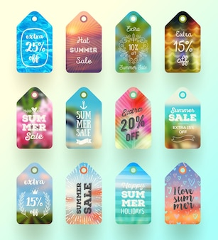 Ensemble d'étiquettes ou d'étiquettes de vente d'été