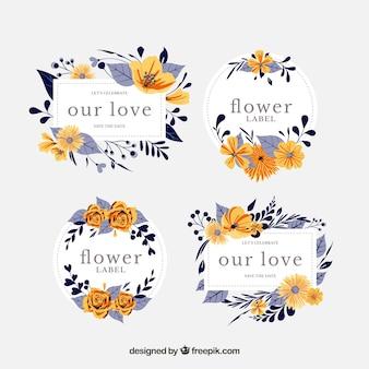 Ensemble d'étiquettes florales tropicales