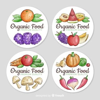 Ensemble d'étiquettes de fruits bio aquarelle