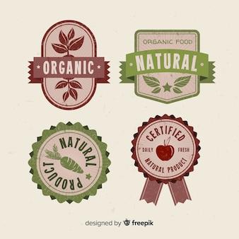Ensemble d'étiquettes de fruits bio vintage