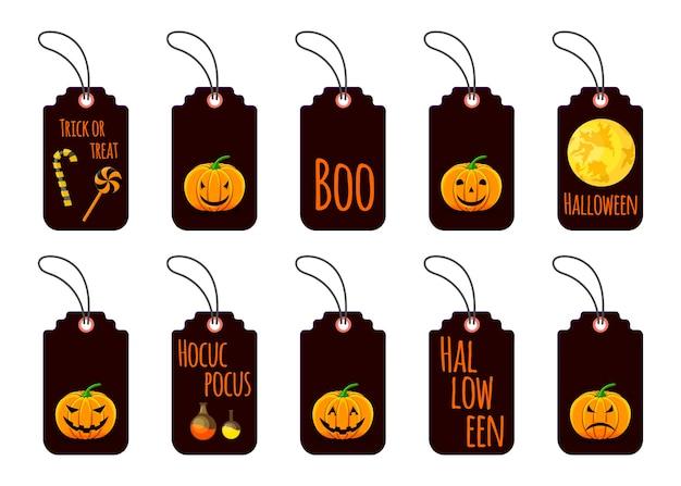 Ensemble d'étiquettes d'halloween pour les produits de vacances sur fond blanc. style de bande dessinée. vecteur.