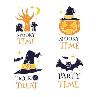 Ensemble d'étiquettes happy halloween dessinés à la main