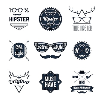 Ensemble d'étiquettes hipster